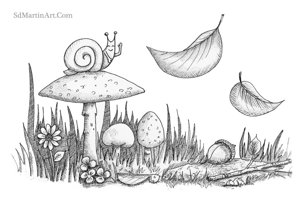 Inktober Day 6_Snail on Toadstool_LR with WM_No background.jpg