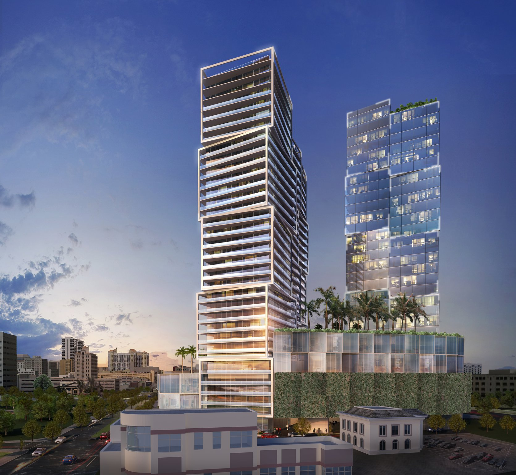 One West Palm - West Palm Beach's newest Luxury Hi-Rise Towers. Unique Cubed Glass Architecture, Designed by World Renowned firm, Arquitectonica. Completion date 2020.