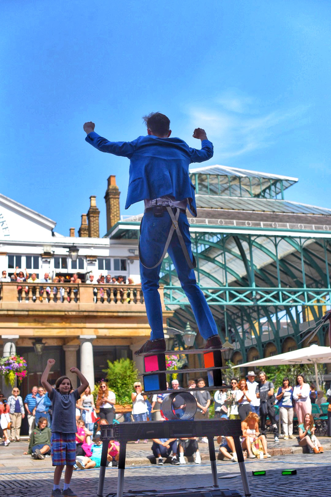 Audience participation is a big part of the street performers in Covent Garden.