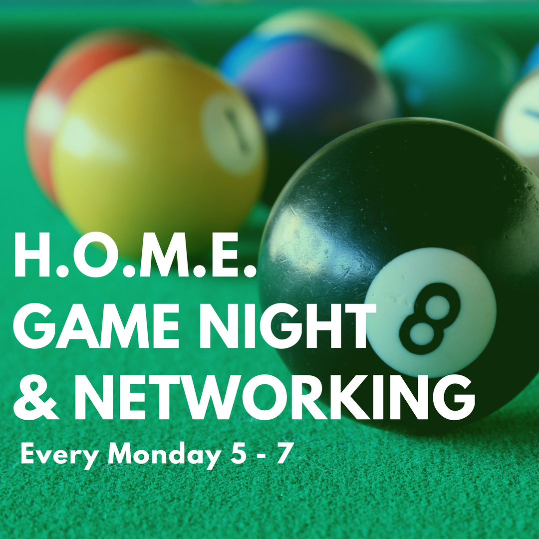BYOB and come on out for some friendly competition and networking. It's going down every Monday from 5-7pm.  Billiards, ping pong, shuffle board, darts, giant Jenga, board games, and more! All Homies and their guests are welcome.