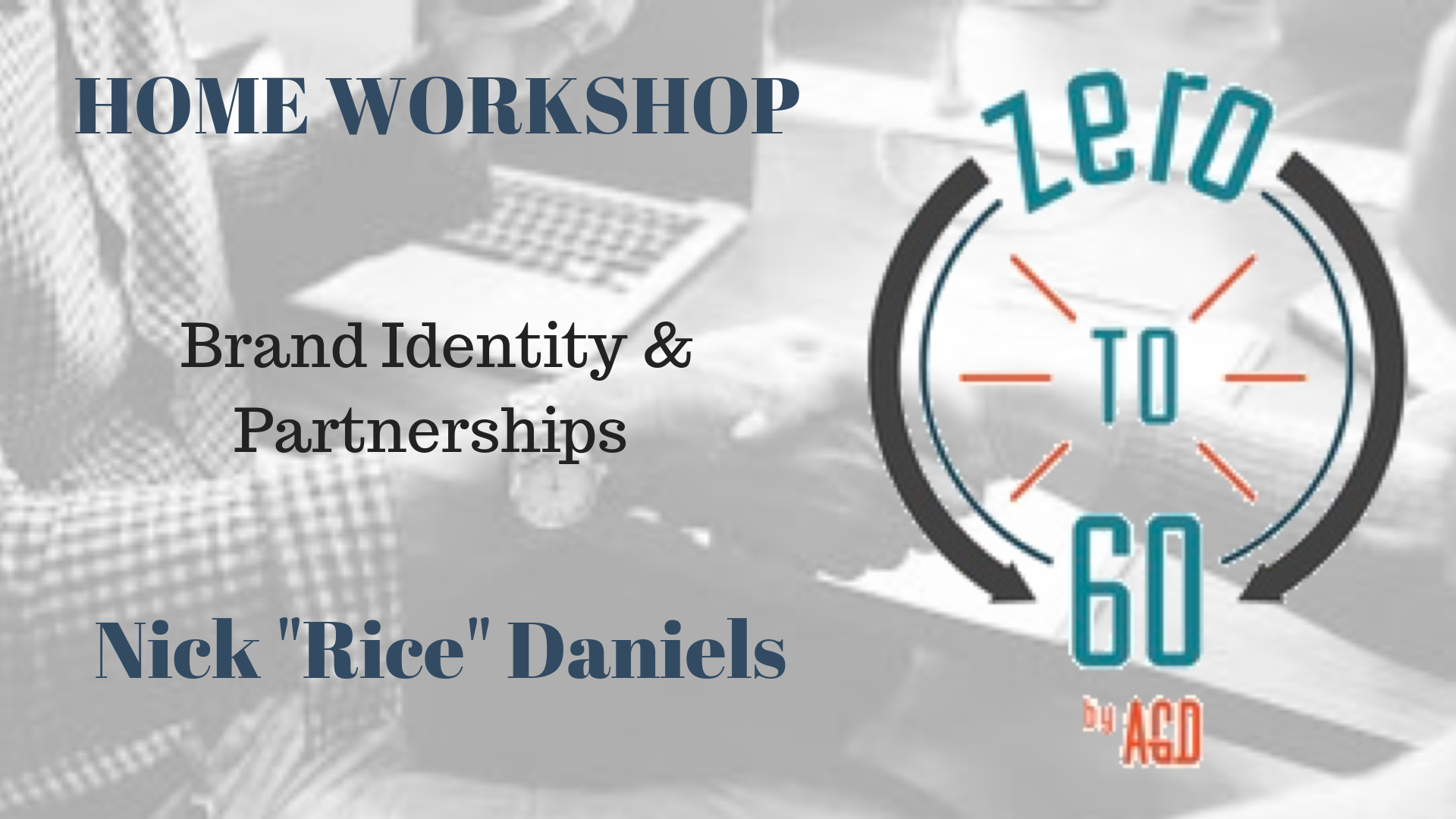 """Nick """"Rice"""" Daniels will be presenting a workshop on artist branding derived from the concepts and philosophies included in the Zero to 60 program.  Outline:  The Visual Team Establishing branding guidelines the content  Brand Partnerships (including TV and film)  There will be a Q&A at the end of the workshop with Rice and the Zero to 60 Author/COO Nathan Dohse"""