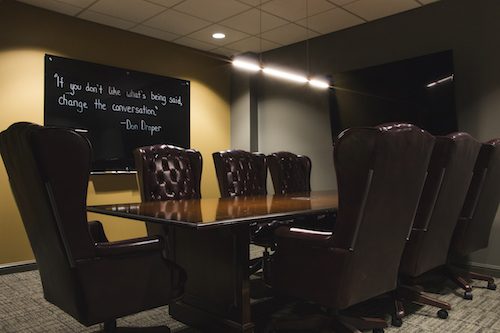Draper - Channel your inner Don or Peggy and host a meeting in Mad Men style in the Draper Room. Wet bar not included... yet.- Seats 2 to 10 people- 10-foot table- 7 chairs- 60-inch LED display- Dry-erase board- Wifi and hardwire connections