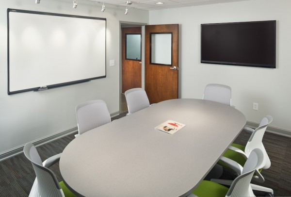 Trillian - Trillian has everything you need whether you're meeting potential clients, giving a presentation, or having a round table discussion- Seats 2 to 8 people- 8-foot table- 6 chairs- 60-inch LED display- Dry-erase board- Wifi and hardwire connections