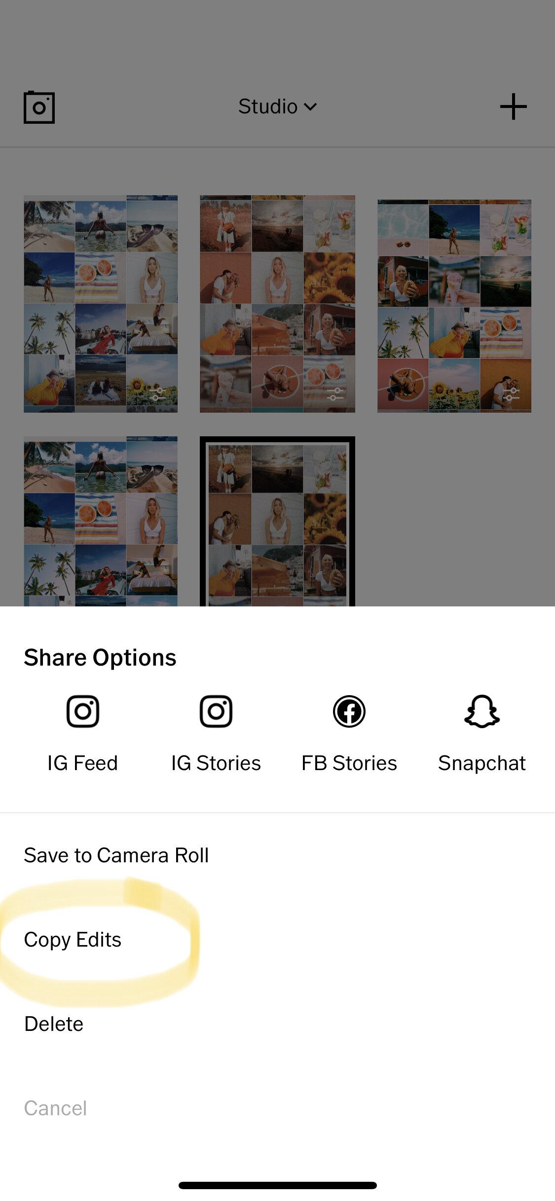 copy edit vsco screenshot