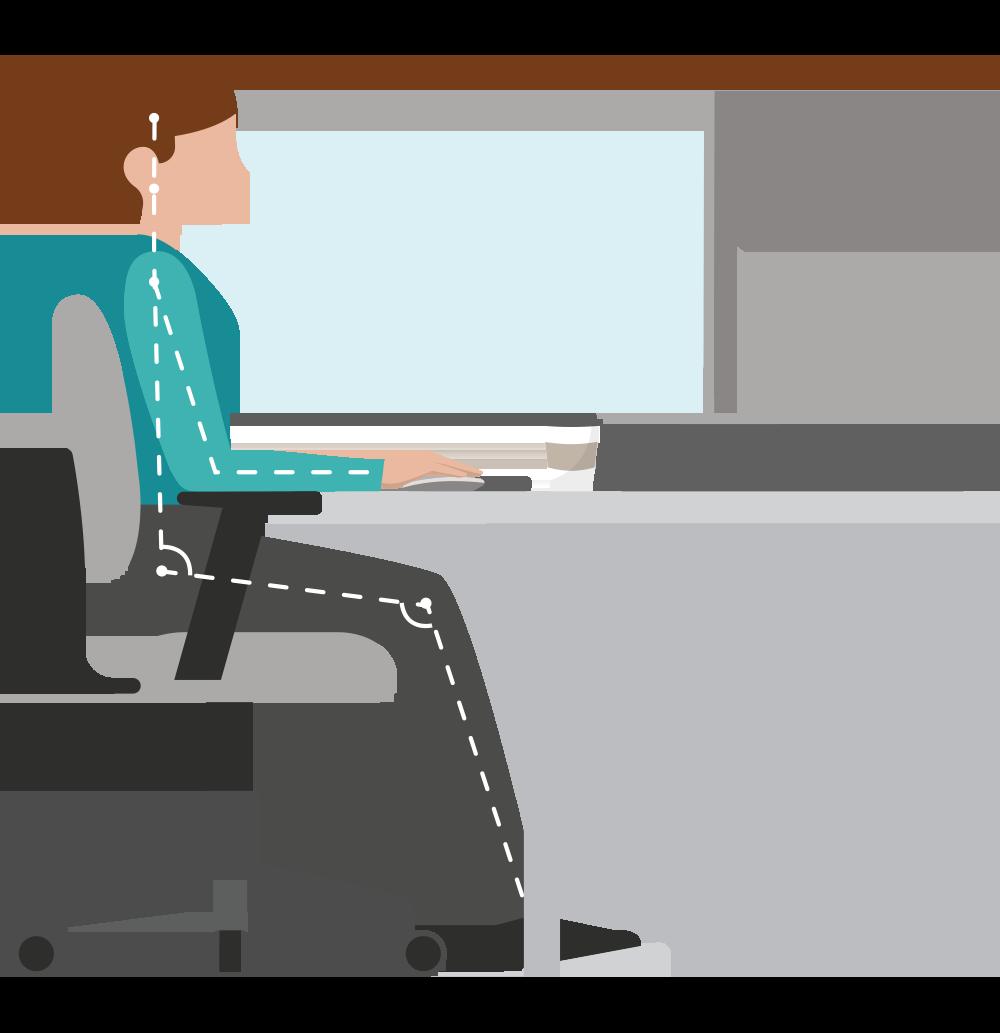 Tips for your Desk - Keep screens eye level.Keep feet flat on floor.Keep Keyboard & Mouse shoulder width distance apart.