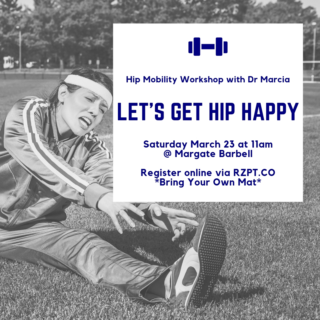 Angry hips give you trouble during lifts? Aches and pains in your muscles get you down at work? Let's turn that frown upside down and get hip happy.  Join Dr Marcia at Margate Barbell as we tackle hip mobility with a review of lower quarter stretches and exercise. It's time to get results, period.  P.S. Bring Your Own Mat!   REGISTER ONLINE    HERE
