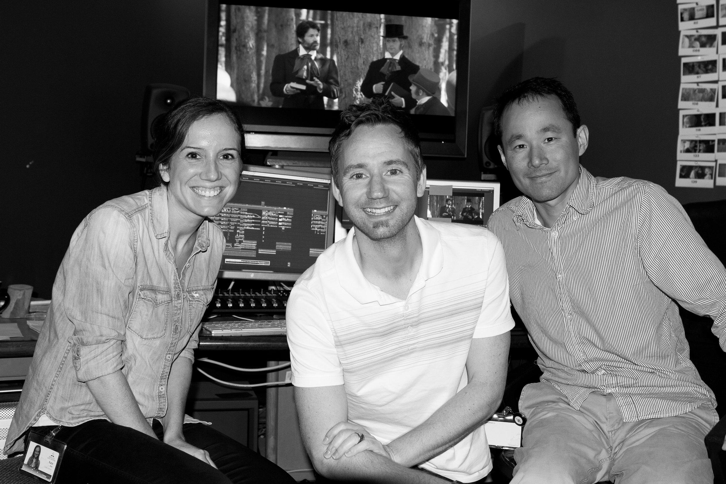 L-R - Katie Dose (1st Assistant Editor), Emmy Awarding winner Kyle Portbury (Writer Director), Bin Li (Film Editor)