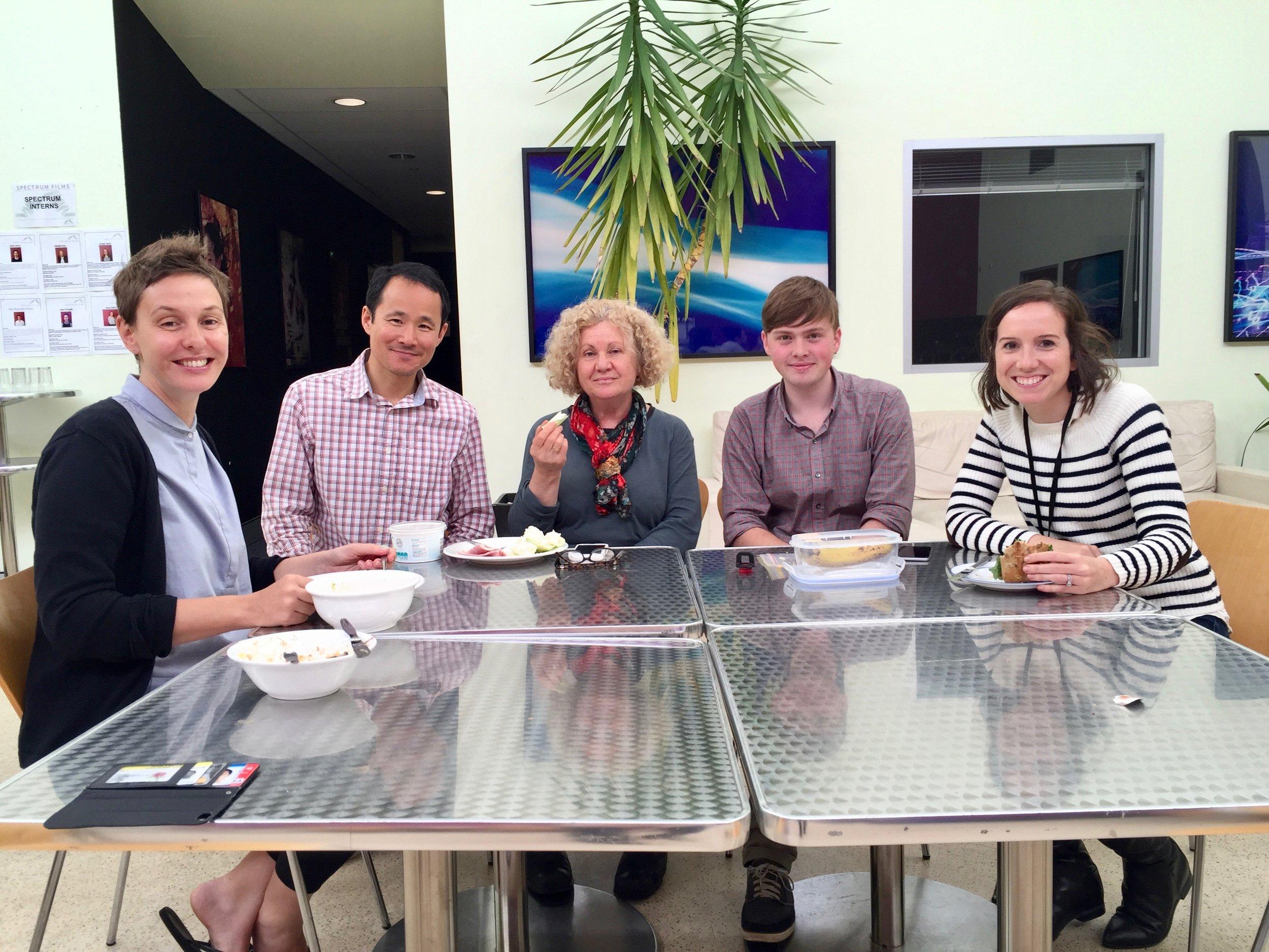L-R: Kristine Rowe (Music Editor), Bin Li, Nadia Tass (Director), Josh Wyatt (Assistant Editor)   and Katie Dose (1st Assistant Editor),