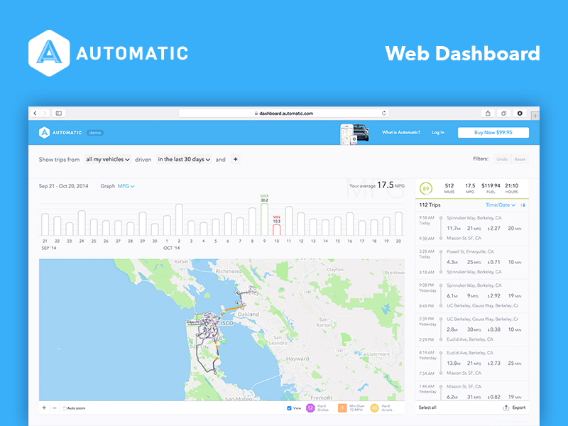 Automatic - Web product design, 2014Design still in use, use the demo at dashboard.automatic.com.