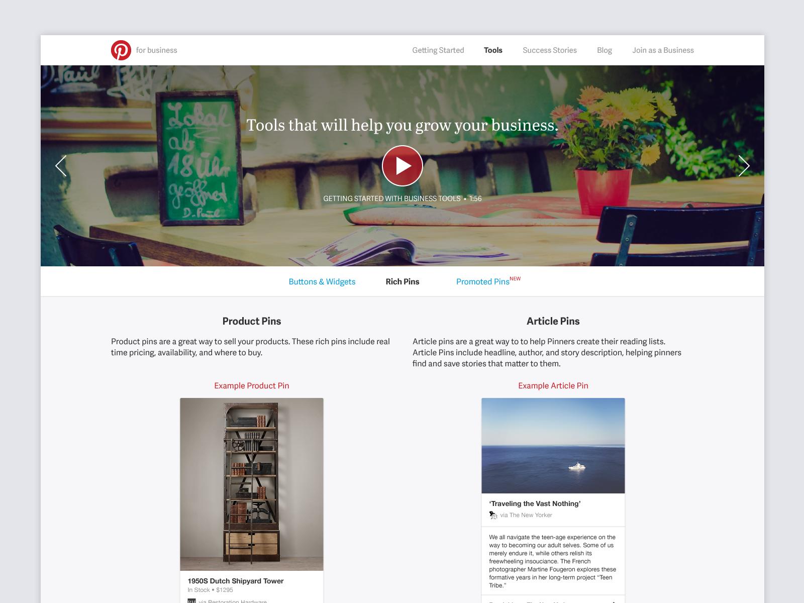 Ads.Pinterest - Web product design, 2013