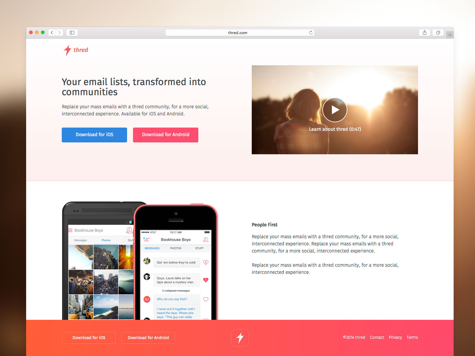 Thred - iOS product and web design, 2013