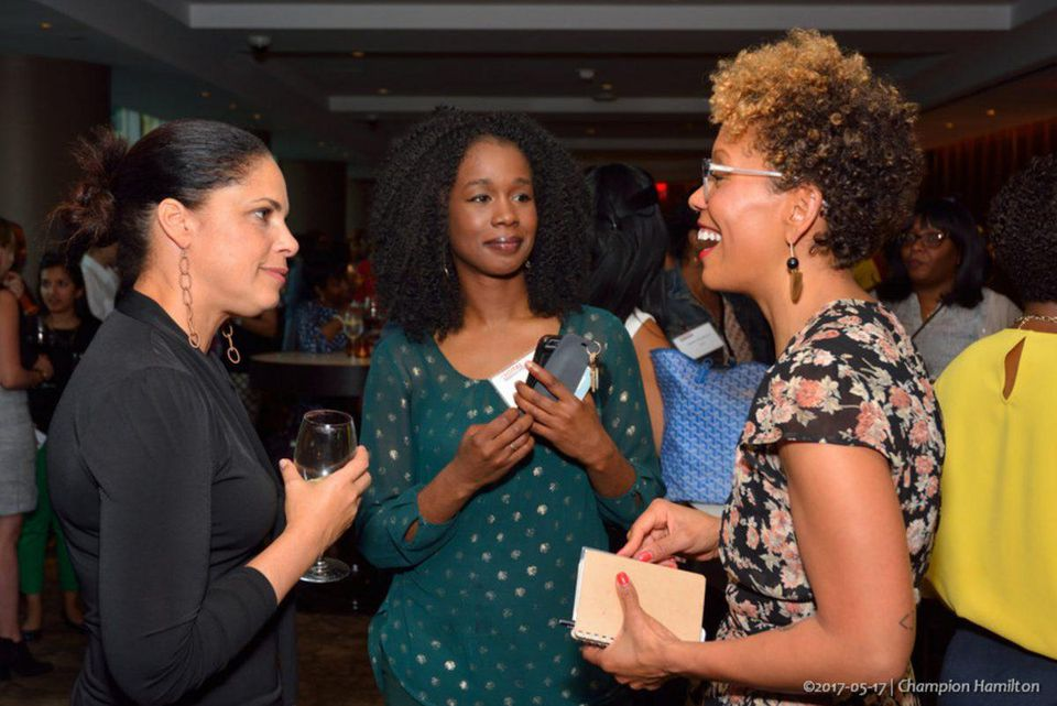 Left to right: Soledad O'Brien, TV anchor, producer and philanthropist; Asmau Ahmed; Jenna Wortham, Staff Writer for the New York Times Magazine;  (Credit: Champion Hamilton,  http://about.me/ChampionHamilton .)