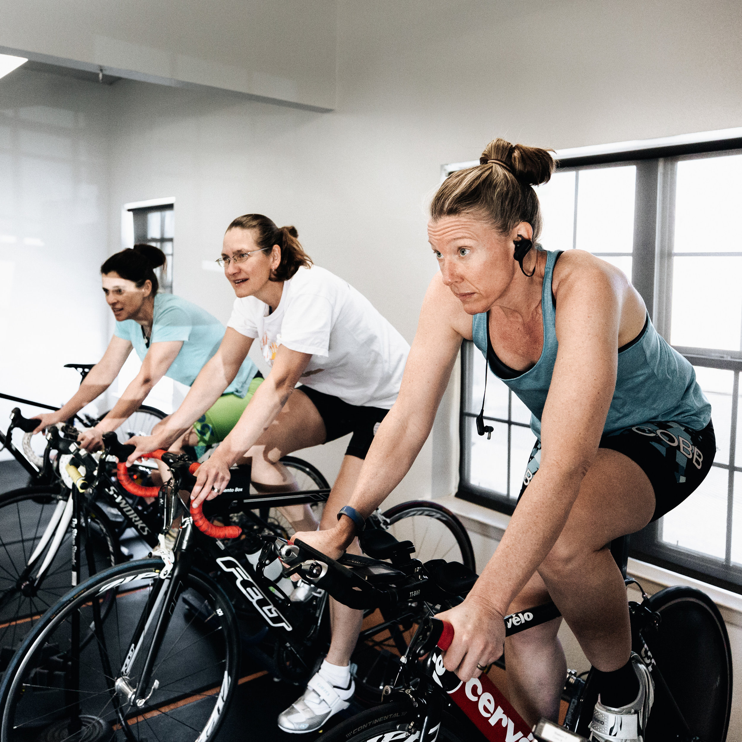 Don't Worry about the bad weather - Our indoor Cycling Corral is the spot to ride and train when you don't want to be outside. Bring your bike in and get stronger by riding on our Wahoo KCKR's a few times a week. Ride with a group or get in some good solo cardio time. We will assess you and help determine the appropriate training zones to work in.