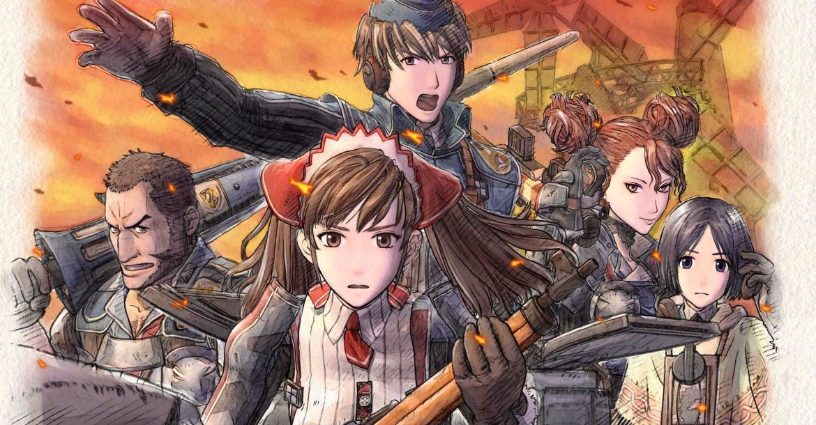 Main cast of Valkyria Chronicles  from left to right: Largo, Alicia, Welkin, Rosie, and Isara
