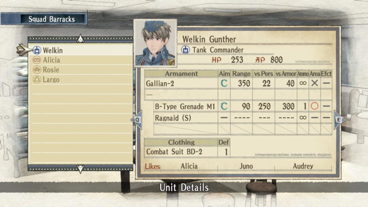 Loadout for Welkin in the barracks