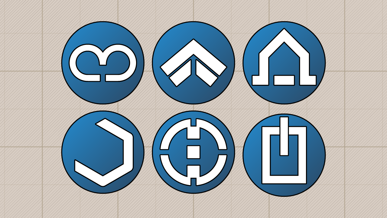 Unit class insignia. from left to right, top to bottom: Scout, Shocktrooper Lancer, Engineer, Sniper, and Tank
