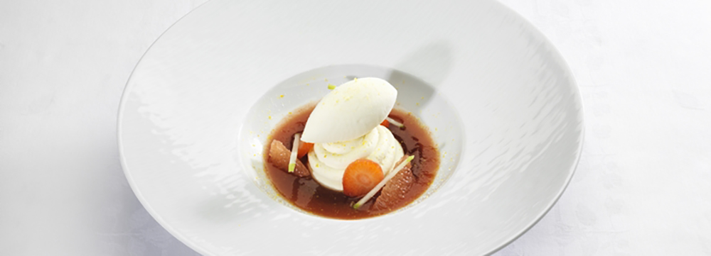 Chilled tomato with grapefruit and strawberry,lemon sour light cream