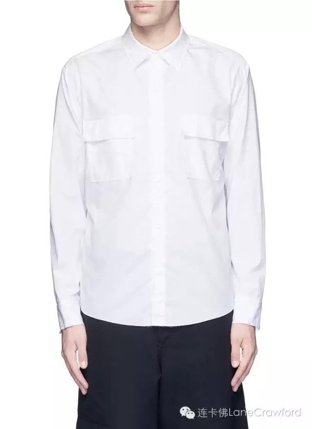 SULVAM 不修边纯棉府绸衬衫