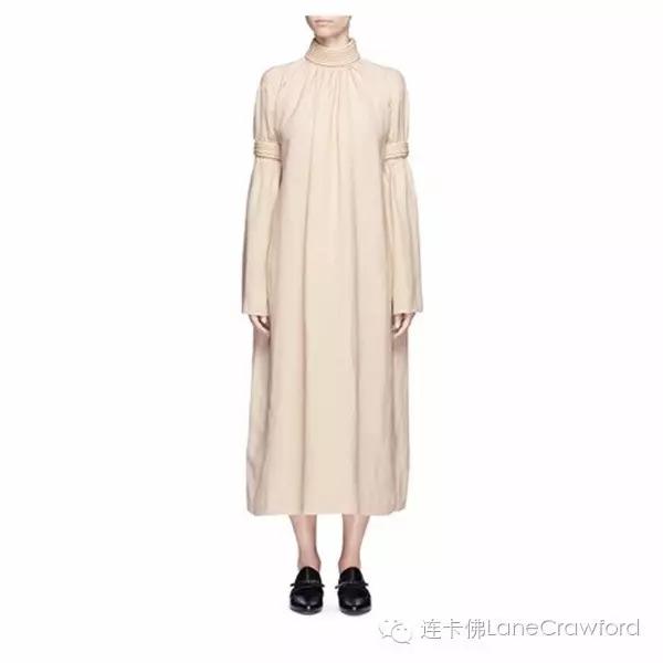 MS MIN 立体条纹混亚麻连衣裙