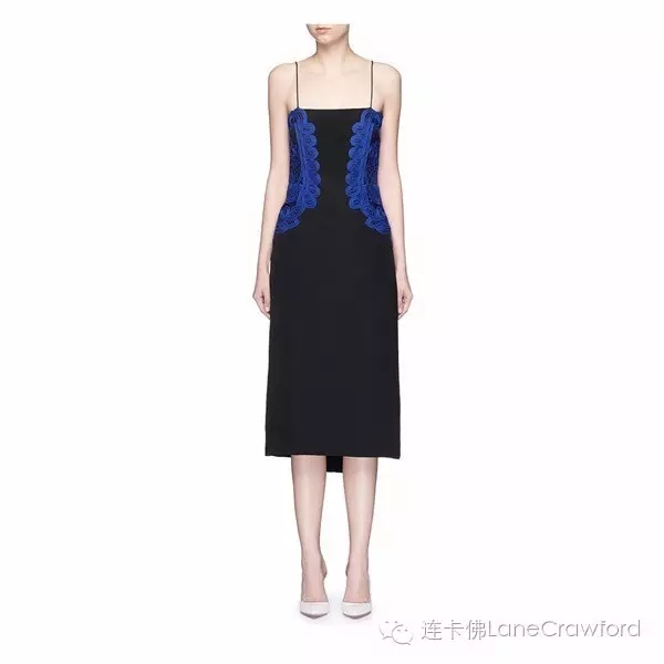 VICTORIA BECKHAM 蕾丝装饰真丝连衣裙