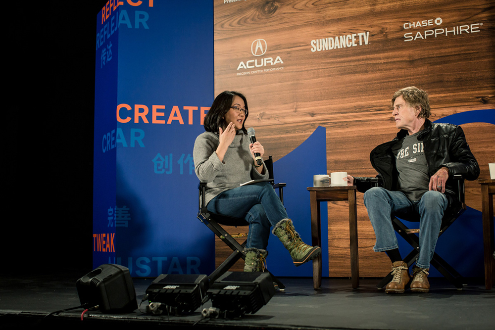 Moderator Barbara Chai and Sundance Institute President & Founder Robert Redford at the Day One Press Conference of the 2018 Sundance Film Festival. © 2018 Sundance Institute | photo by Duston Todd.