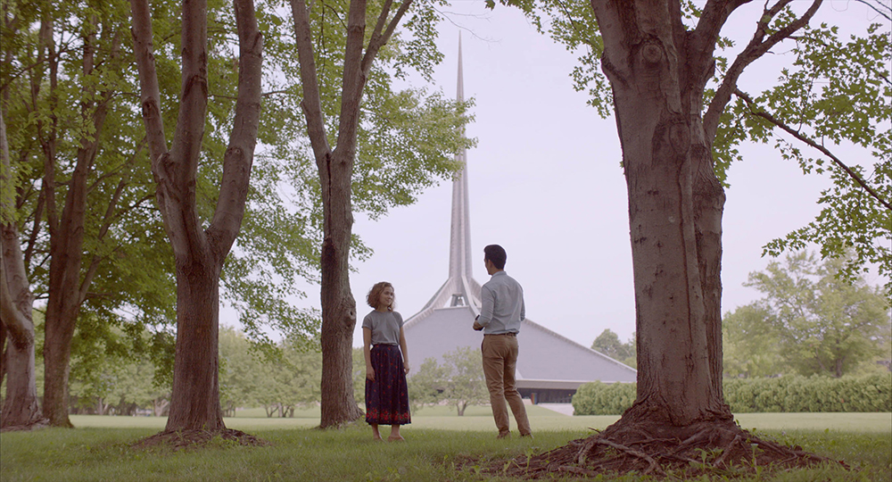 Haley Lu Richardson and John Cho appear in Columbus by Kogonada, an official selection of the NEXT program at the 2017 Sundance Film Festival. Courtesy of Sundance Institute | photo by Elisha Christian.