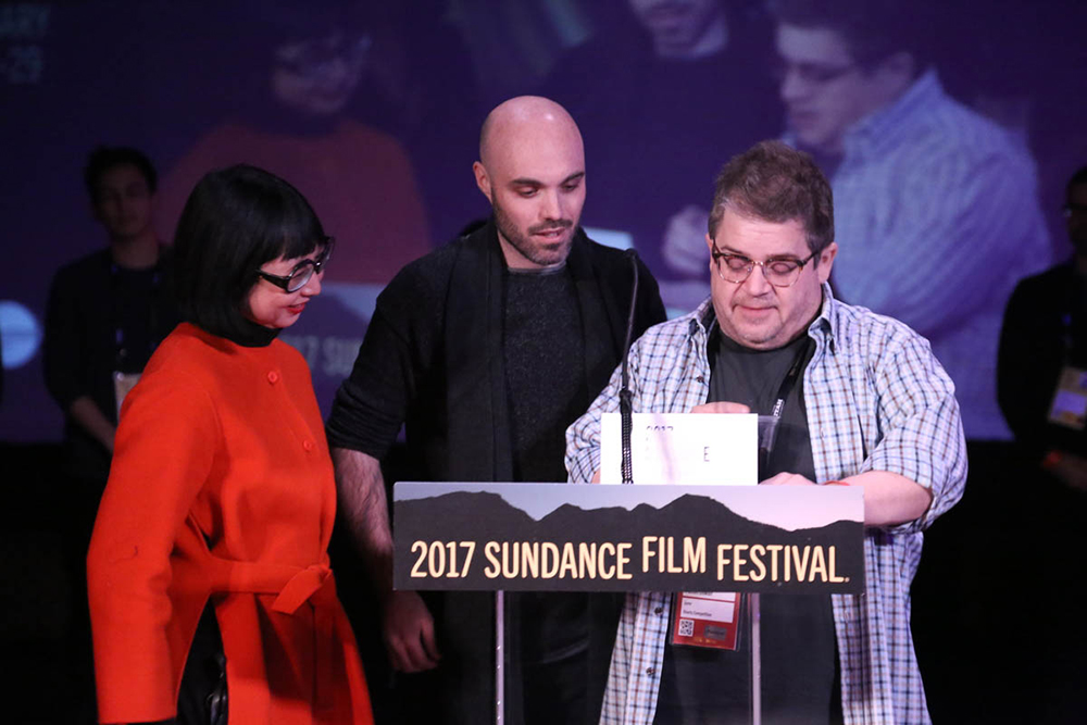Shirley Kurata, David Lowery and Patton Oswalt, Photo by Calvin Knight
