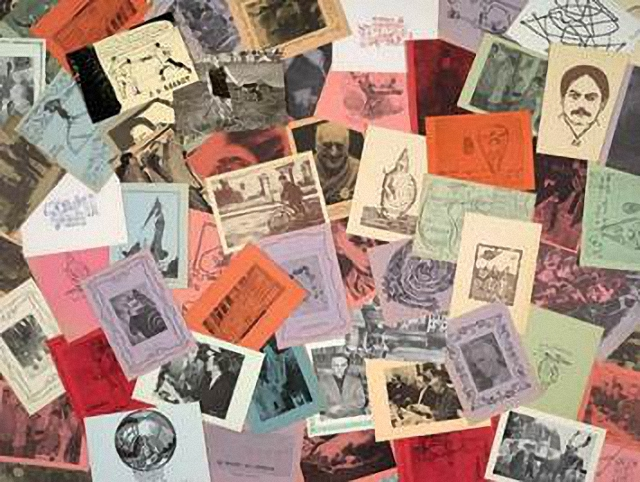 Postcards from Harald Szeemann's collection of pataphysics material. The Getty Research Institute, 2011.M.30