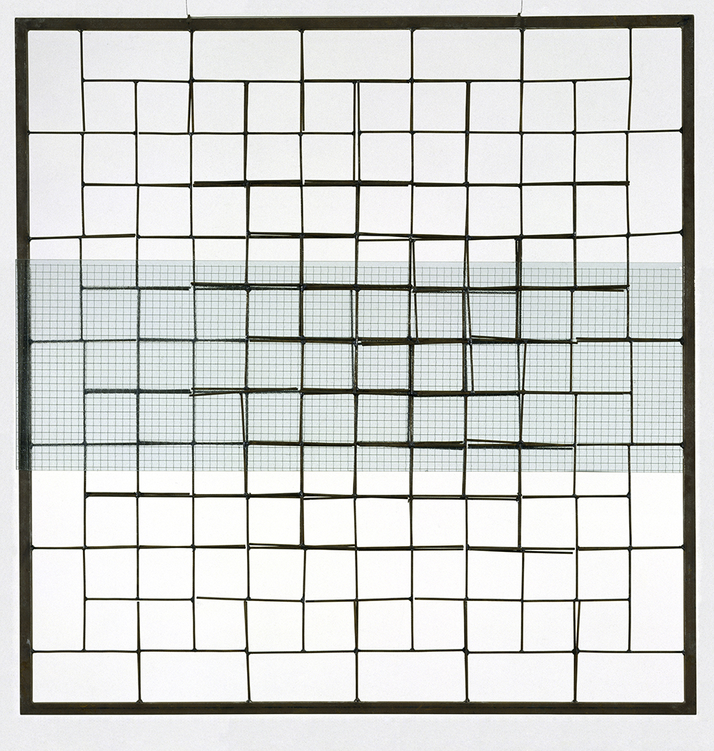 Cildo Meireles (Brazilian, born 1948). Meshes of Freedom. 1976/77. Iron and glass. 47 1/4 x 48 1/4 x 1 1/2″ (120 x 122.6 x 3.8 cm). Promised gift of Patricia Phelps de Cisneros through the Latin American and Caribbean Fund.