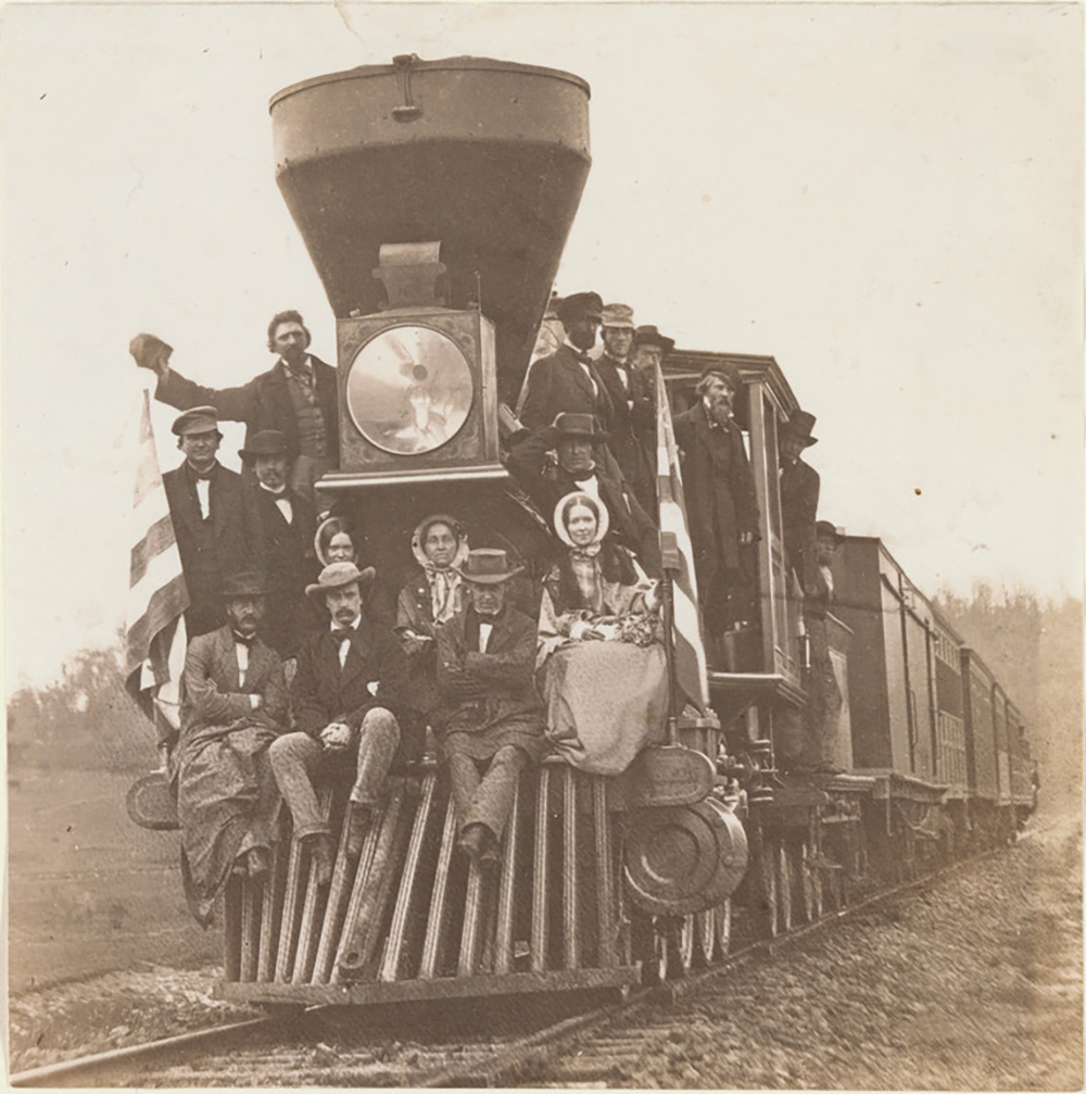 Locomotive on the Baltimore and Ohio Railroad, near Oakland, Maryland, about 1860. Salted paper print. Image: 16.2 × 16 cm (6 3/8 × 6 5/16 in.). Lent by The Metropolitan Museum of Art, Purchase, The Horace W. Goldsmith Foundation Gift, through Joyce and Robert Menschel, 1991 (1991.1151). Image: www.metmuseum.org