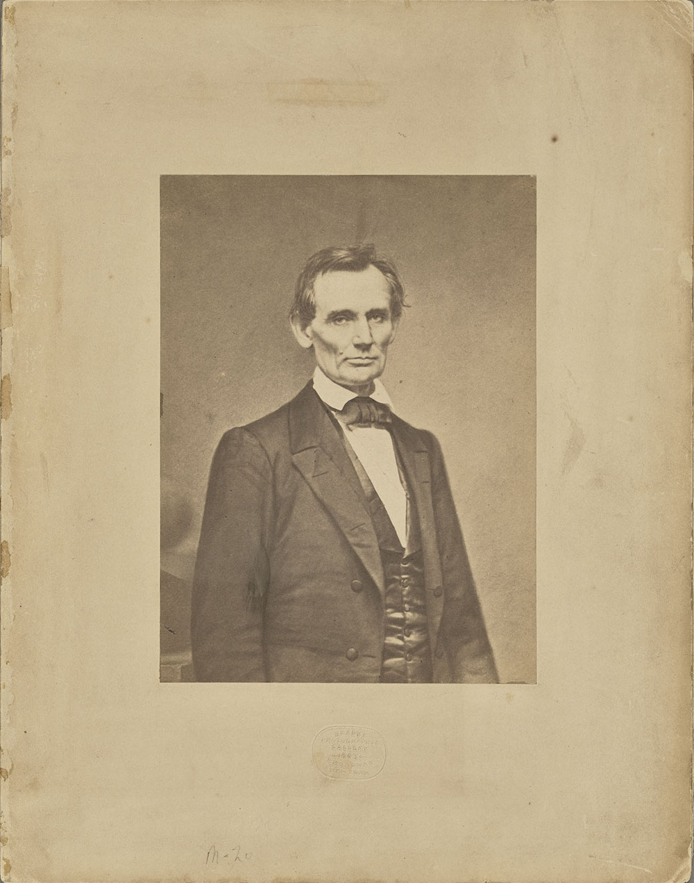 Abraham Lincoln, February 1860, Mathew B. Brady (American, about 1823 - 1896). Salted paper print. Image: 19.5 × 14.4 cm (7 11/16 × 5 11/16 in.). The J. Paul Getty Museum, Los Angeles