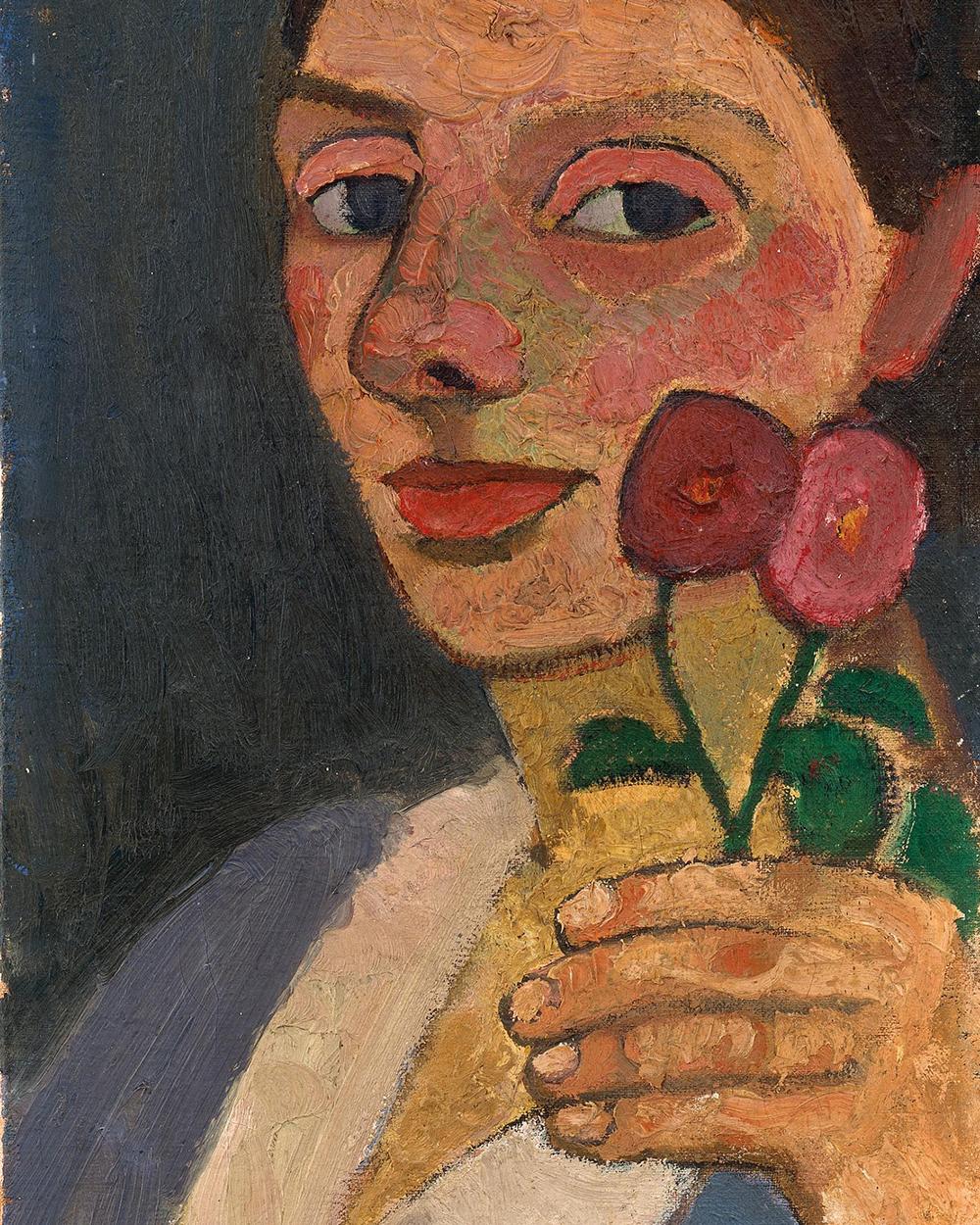 Paula Modersohn-Becker (German, 1876-1907). Selbstbildnis mit zwei Blumen in der erhobenen linken Hand [Self-Portrait with Two Flowers in her Raised Left Hand]. 1907. Oil on canvas. 21 3/4 x 9 6/8 in. (55 x 25 cm). The Museum of Modern Art, Gift of Debra and Leon Black, and The Neue Galerie, Gift of Ronald S. Lauder.