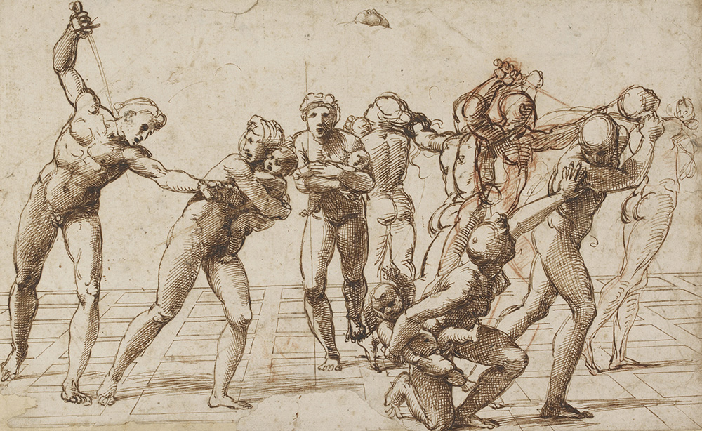 Study for the Massacre of the Innocents, c. 1509–10 Pen and brown ink over red chalk and geometrical indications in stylus, selectively pricked for transfer, 23.2 x 37.7 cm © Trustees of the British Museum
