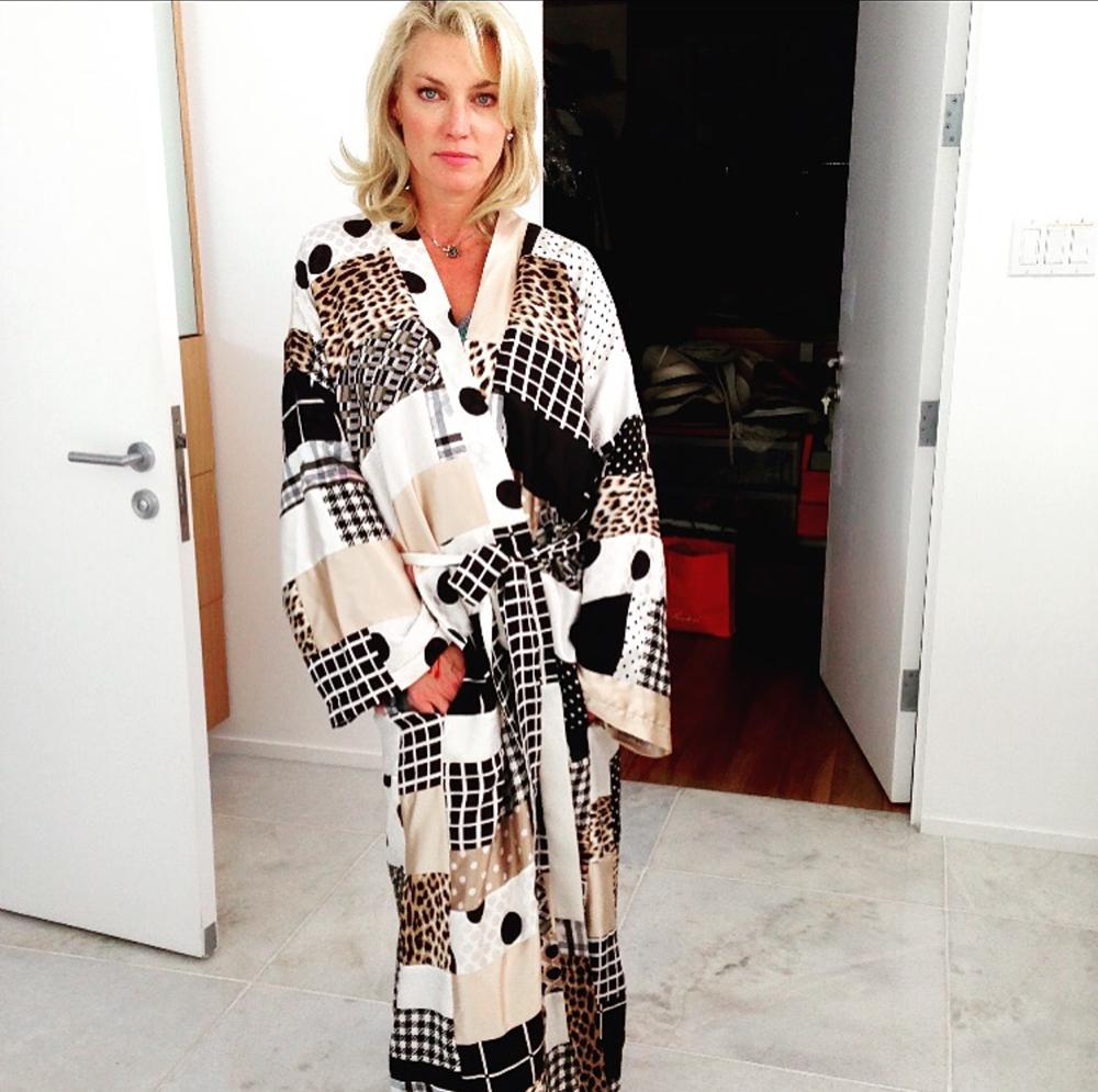 Donna Scott in Patchwork Silk Gypsy Robe by Susan Becker, Photo courtesy of Susan Becker