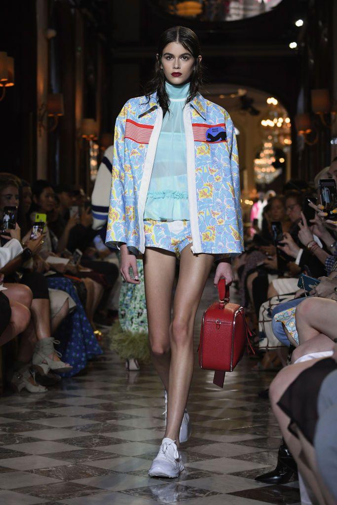 Kaia Gerber, The model walks the runway for Miu Miu's Cruise 2019 show at the Hotel Regina in Paris.