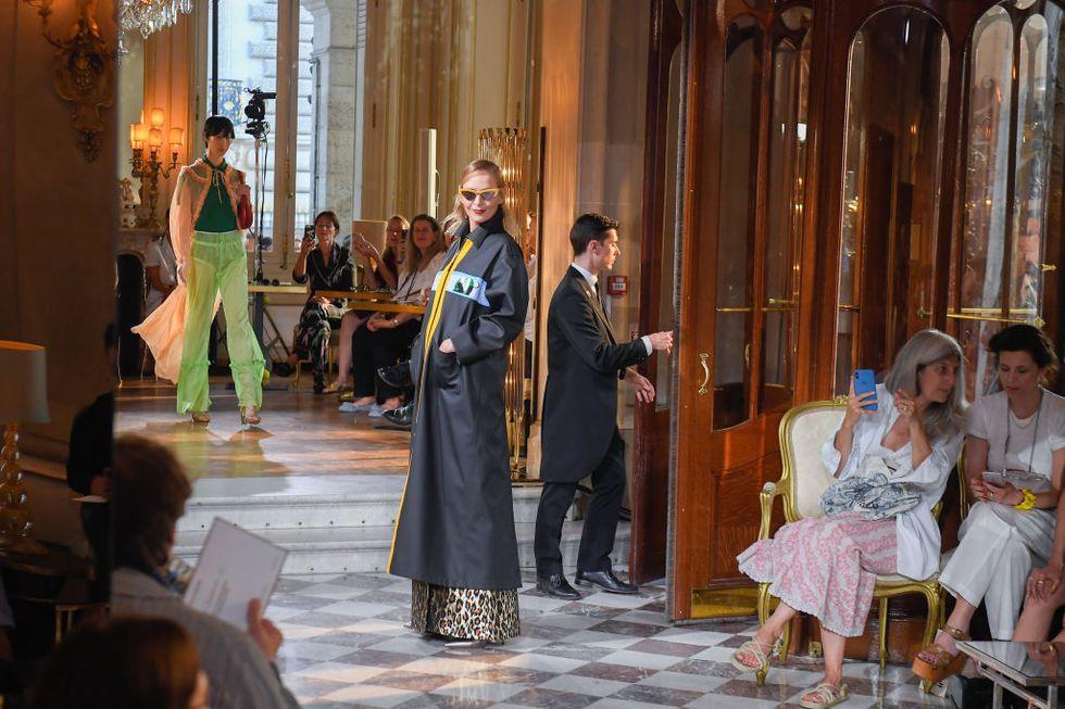 Uma Thurman, The actress brought down the house at Miu Miu's Cruise 2019 show in Paris.