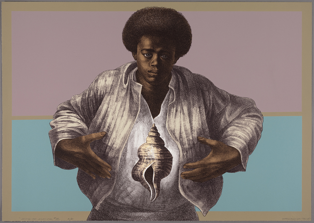 Charles White. Sound of Silence. 1978. Printed by David Panosh, Published by Hand Graphics, Ltd. Color lithograph on paper. 25 1/8 × 35 5/16″ (63.8 × 89.7 cm) The Art Institute of Chicago. Margaret Fisher Fund. © 1978 The Charles White Archives.