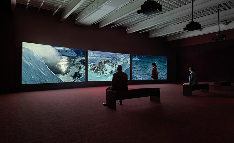 "Vertigo Sea, 2015. Installation view: ""John Akomfrah: Signs of Empire,"" New Museum, New York, 2018. Courtesy Smoking Dogs Films and Lisson Gallery. Photo: Maris Hutchinson / EPW Studio"