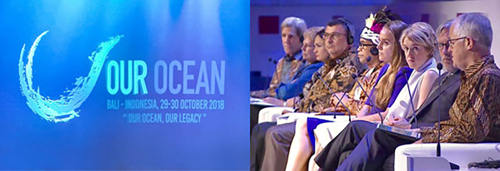 Our Ocean 2018. John Kerry, Dr. Jane Lubchenco, H.E. Philippe Germain (President of New Caledonia), H.E. Isabel De Saint Malo de Alvarado (Vice President of the Republic of Panama), Abraham Goram, Dona Bertarelli, Dr. Fanny Douvere. / Our Ocean 2018
