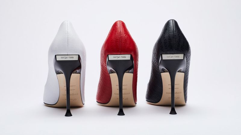 Shoes from Sergio Rossi's capsule collaboration with Elizabeth Stewart. (WWD)