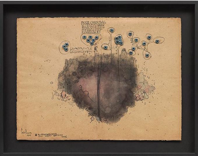 Carol Rama. Senza titolo, 1967.  Ink, glue, and doll eyes, on paper mounted on cardboard  13 3/4 x 18 3/8 inches (35 x 46.7 cm).  © Archivio Carol Rama, Torino  Photo: Tom Powel Imaging