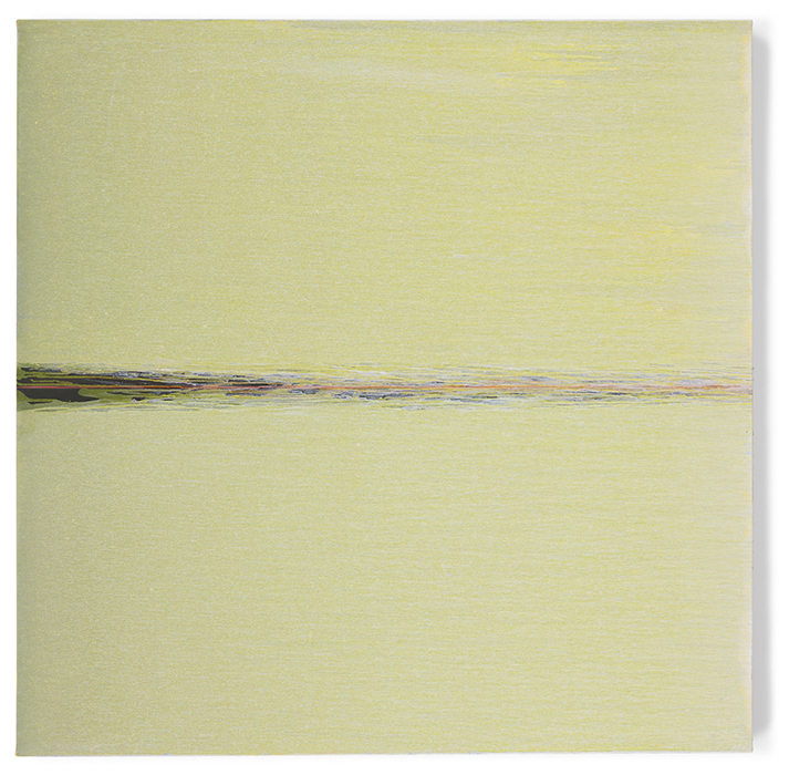 Pat Steir, Yellow, 2018, Oil on canvas, 60 x 60 inches (152.4 x 152.4 cm)  © Pat Steir; Photo by Tom Powel Imaging; Courtesy the artist, Lévy Gorvy Gallery, and Vito Schnabel Gallery