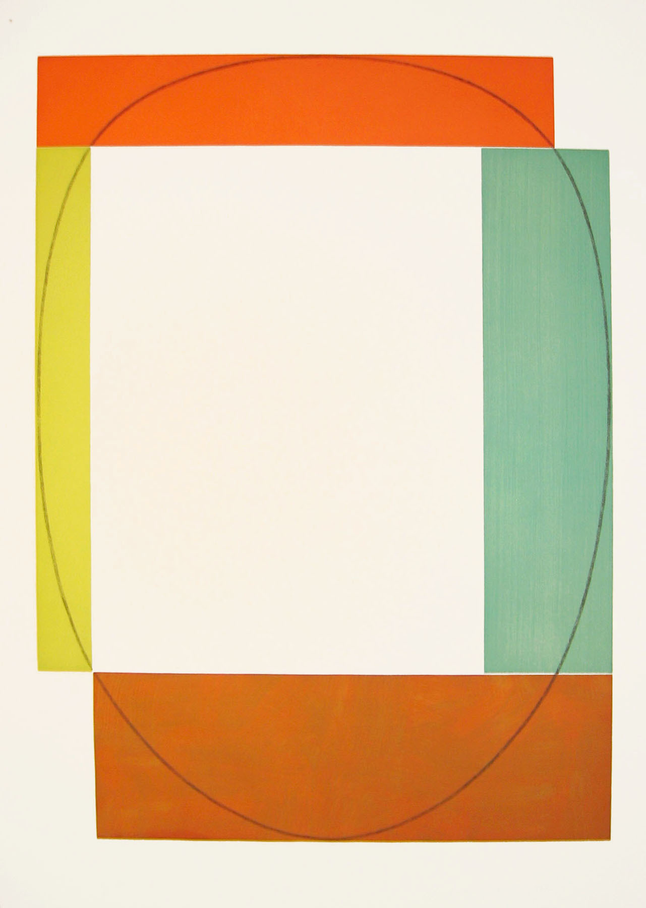 Robert Mangold, A from Two Aquatints, 1985, aquatint etching on Somerset Satin paper, 53 x 37 3/8 inches, edition of 20
