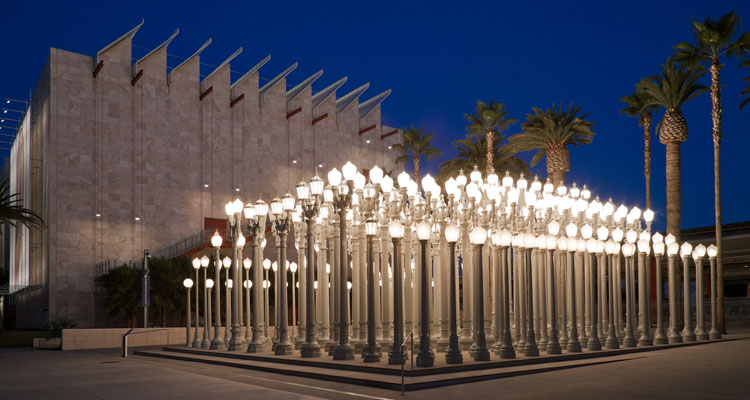 Image credit: Chris Burden, Urban Light, 2008, Los Angeles County Museum of Art, Urban Light is made possible by Willow Bay and Bob lger, and is open 24 hours a day thanks to their generosity. Special thanks to the Brandon-Gordon family for their founding support of the 2008 installation. © Chris Burden/licensed by The Chris Burden Estate and Artists Rights Society (ARS), New York, photo © Museum Associates/LACMA