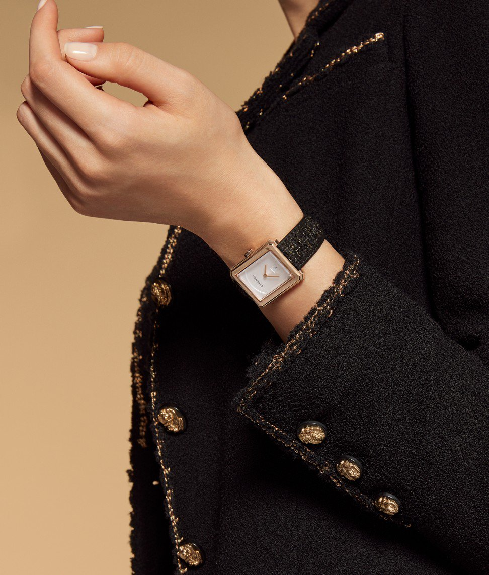 A beige gold watch from Chanel's new Boy-Friend collection.