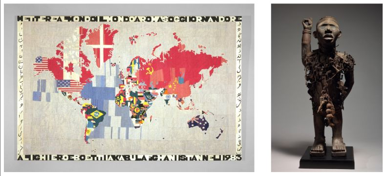 Alighiero Boetti  Map (Mettere il mondo al mondo) [Putting the World Into the World] , 1983 Embroidery on canvas 45.37 x 71 x 1.125 inches (115.3 x 180.3 x 2.9 cm) © 2019 Artists Rights Society (ARS), New York / SIAE, Rome.  Yombe People, Loango Kingdom Nail Power Figure, 19th century Wood, iron, resin, glass, fiber, textile and pigment Height: 31 7/8 inches (81 cm). Image © Schweizer Premodern, New York. Private Collection, Courtesy of Schweizer Premodern, New York.