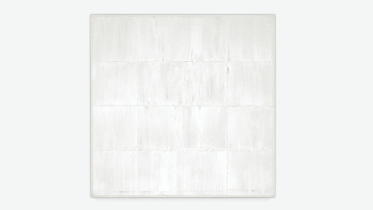 Image credit: Mary Corse,  Untitled (White Grid, Vertical Strokes) , 1969, collection of Andrea Nasher. © Mary Corse, photograph © Mary Corse