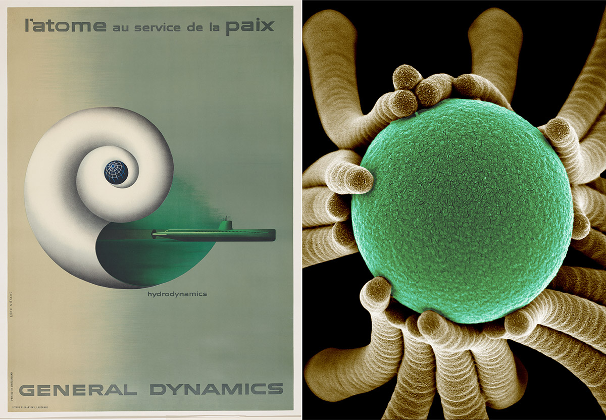 Poster, Hydrodynamics, L'Atome au Service de la Paix (Atoms for Peace), 1955; Designed by Erik Nitsche (Swiss, 1908–1998) for General Dynamics Corporation (Falls Church, Virginia, U.S.); Offset lithograph on paper mounted on canvas; Gift of Arthur Cohen and Daryl Otte in memory of Bill Moggridge, 2013-42-9.  Save Our Earth, 2009; Designed by Joanna Aizenberg (Russian, b. 1960) and Wim Noorduin (Dutch, b. 1980); Synthetic cilia demonstrating the principle of self-assembly around a spherical nanosphere and illustrated through scanning electron micrograph with false color; Each synthetic cilium is approximately the size of a naturally occurring cilium (200 nanometers in diameter); Courtesy of Aizenberg Lab and Wyss Institute for Biologically Inspired Engineering at Harvard University.