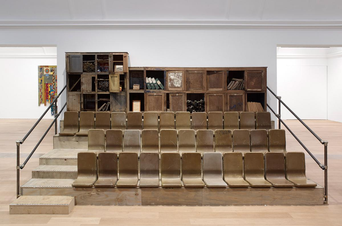 Installation view of Ibrahim Mahama's 'Parliament of Ghosts' at Whitworth Art Gallery. Photography: Michael Pollard