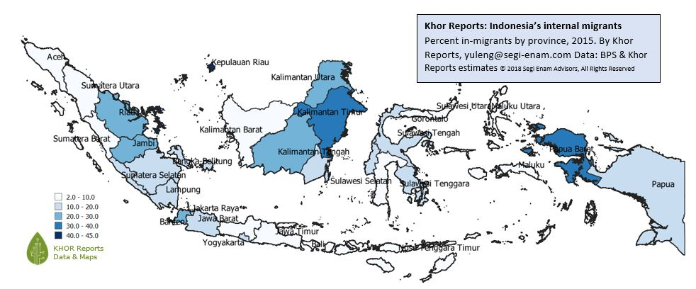 Figure 1: Indonesia's internal migrants - % in-migrants by province by Khor Reports  Source: Khor Reports     Data: BPS and Khor Reports estimates  (c) 2018 Segi Enam Advisors Pte Ltd. All rights reserved.